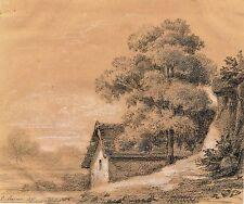 Alexandre Eugène Prignot  crayon gras rehauts blanc signé daté village
