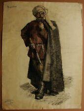 Russian Ukrainian Soviet Painting realism historical portrait Turk man 1950s