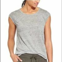 ATHLETA light gray linen newport cap sleeve tee shirt with front pocket Top XS
