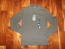 NWT Mens BASS Green Heather Long Sleeve Thermal Henley Shirt Size L Large