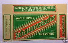 uralte Werbung Werbekarton Kamenzer Seifenfabrik Niegel Waschpulver OVP !!!