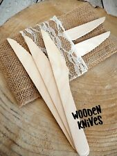 100 Knives Wooden Disposable Party Eco Cutlery Knifes Woodern Picnic Catering