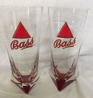 Bass Ale Beer Glass Cup with Red Triangle Bottom Vintage - PAIR of Glasses!