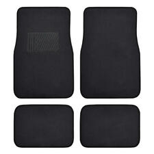 Solid Black Carpet Car Floor Mats - Set of 4 Driver Passenger and Utility Pads