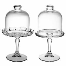Pasabahce Mini Pastry Platter Cake Stand Cupcake Plate Dish with Glass Dome Lid