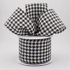 """2 1/2"""" BLACK AND WHITE LARGE HOUNDSTOOTH CHECK WIRED RIBBON - 3 YARDS OFF ROLL"""