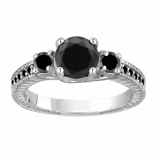 Platinum 1.45 Carat Enhanced Black Diamond Engagement Ring Three Stone Handmade