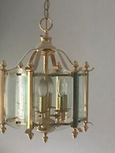 "Large 20"" pendant Chandelier hall brass hexagon- beveled glass canopy chain NICE"