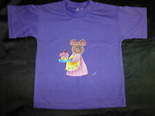 BRAND NEW ~ GIRLS SIZE 4 HANDPAINTED MOUSE PURPLE TSHIRT ~ NEW