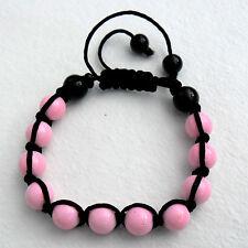 Bracelet Schamballa perles de verre (rose)