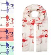 Red and White Cute Lovely Flamingo Bird Animal Print Scarf Wrap Chiffon Large UK
