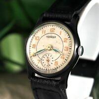 Early Pobeda Black Case Vintage Soviet USSR Military Russian Wrist Watch 15 j