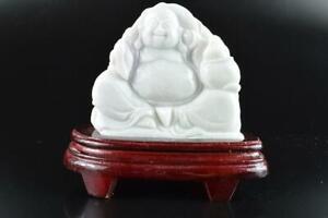 L2286: Japanese XF Stone jade/jewels Hotei STATUE sculpture w/tray Buddhist art