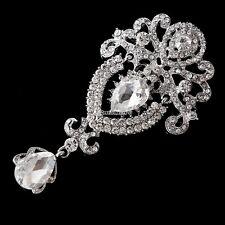 Nue Roße Blume Braut Brosche Rhinestone -Kristall Diamant Silber Brosche Hot