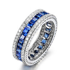 Blue Sapphire CZ Eternity Wedding Band Ring Womens White Gold Filled Jewelry