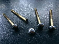"4 x BRASS MIRROR SCREWS WITH CHROME DOME HEADS 2"" / 50mm LONG"