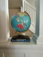 VERY RARE COOL VINTAGE REPLOGLE 10 INCH REFERENCE GLOBE WITH ATLAS ART DECO