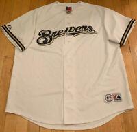 Milwaukee Brewers Authentic White Majestic MLB Jersey XL EUC Blank