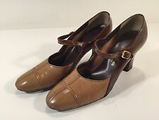 Vintage Jacques Laurenz Heels Made In Spain - Brown & Tan 8.5 8-1/2 Leather