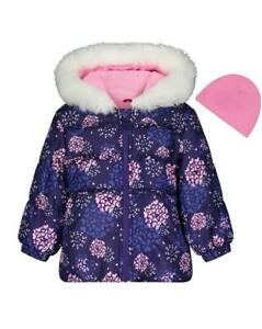 LONDON FOG Little Girl's 5/6 Hooded Puffer Coat w/ Hat NWT $70
