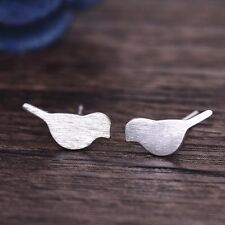 Minimal Dainty Delicate Silver Plated Sparrow Bird Stud Earrings Crawler Climber