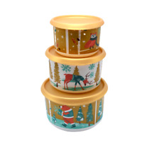 Tupperware Canister Set of 3 - Gold Christmas Forest One-Touch