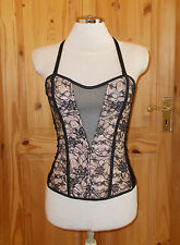 ANN SUMMERS black nude lace satin stretch corset basque halterneck BNWT 10 36