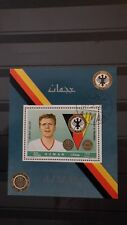 1x Bloc Sheet AJMAN Football Helmut haller Perforated Cachet MNH**