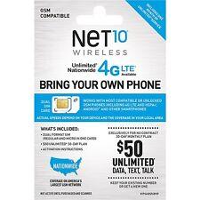 NET 10 STANDARD SIM CARD 1ST MONTH FREE PREFUNDED $50 4GLTE