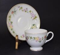 Wedgewood Fine Bone China England Footed Cup & Saucer Set Mirabelle Pattern