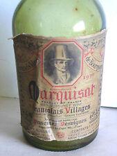 Vintage wine bottle Marquisat Beaujolais 1970 green EMPTY w cork FREE SH