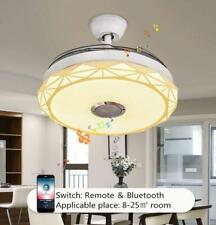 42'' Bluetooth Invisible Ceiling Fan Lamps Music Player Remote Led Chandeliers
