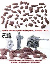 """1/48 - 1/56 (28mm Wargame) Sandbag Set #5 """"Filler & Piles"""" - Value Gear Resin"""