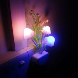 Mushroom LED Night Light Sensor Plug In Colour Changing Wall Lamp Home UK