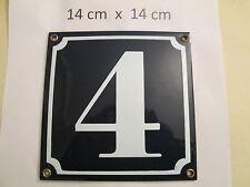 Hausnummer Nr. 4 weisse Zahl auf blauem Hintergrund 14 cm x 14 cm Emaille Neu