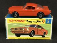 Matchbox 8 A3 Ford Mustang Fastback (Red/Orange w Red Interior) w HTF Type G Box