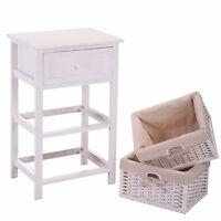 White Nightstand  Bedside End Table Organizer w/2 Wicker Storage Wood Drawer