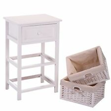 White Nightstand  Bedside End Table Organizer w/2 Wicker Storage Wood Drawer