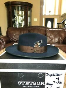 """STETSON """"TRIPLE THREAT"""" NAVY M 7 - 7 1/8 GREAT OUTDOORS COVER"""