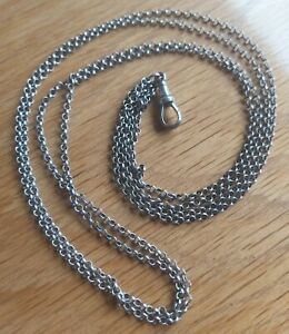 ANTIQUE STERLING SILVER DOUBLE ROLO ALBERT CHAIN WITH FOB SIGNED SS