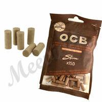 OCB SLIM VIRGIN UNBLEACHED ECO 6 mm TIP CIGARETTE FILTER TIPS RESEALABLE BAGS UK