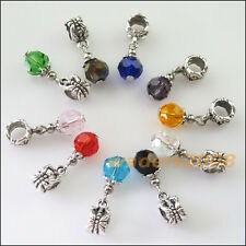10 New Charms Mixed Round Glass Crystal Bail Beads Fit Bracelets 6.5x25mm