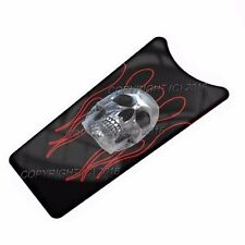 87-07 Touring Gas Tank Console Insert Skin For Harley - Skull Pin Stripe Red CS1
