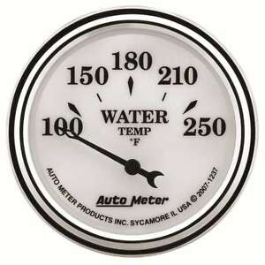 Autometer 1237 Old Tyme White II Analog Gauge Electric Water Temp 2 1/16in.