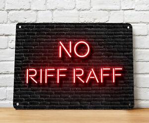No Riff Raff Bar Sign - Neon style Metal Bar Sign, home bar  pub accessories