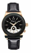 Ferragamo Men's F62LDT5213 S009 1898 Rose-Gold IP Steel Black Leather Date Watch