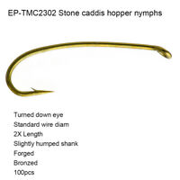 Eupheng 100pcs EP-TMC-2302 Stone Caddis Hopper Nymph Forged Fly Fishing Hooks