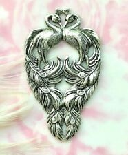 ANTIQUE SILVER PEACOCKS ~ PEACOCK Bird Stamping - Oxidized Finding  (C-603)