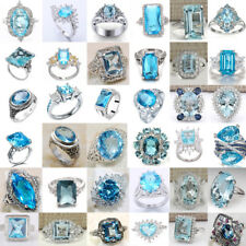 Men Women Aquamarine 925 Sterling Silver Flower Drop Rings Wedding Jewelry #6-10