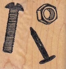 """nuts and bolts ann-t Wood Mounted Rubber Stamp 1 1/2 x 1 1/2"""" Free Shipping"""